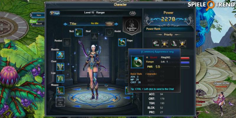 Charakter im MMO RPG Divine Storm