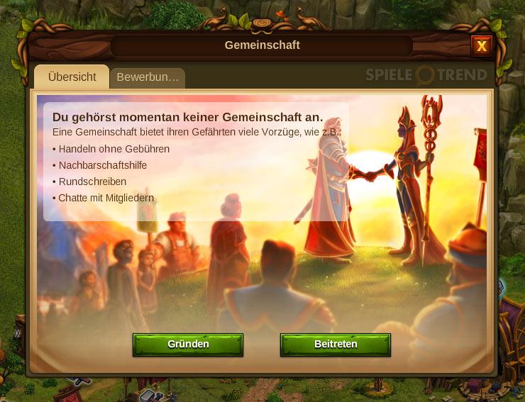 Eine Gemeinschaft im Strategiespiel Elvenar