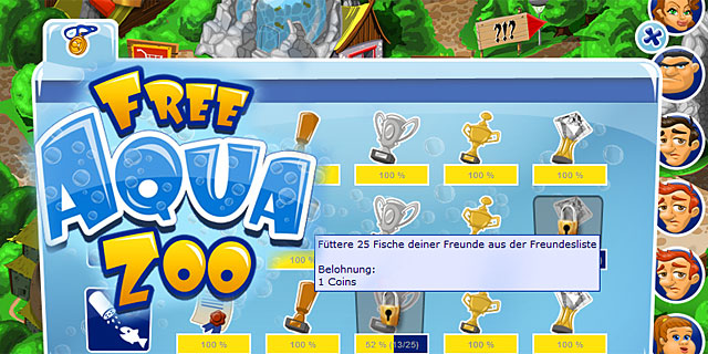 FreeAquaZoo Browserspiel Achievements