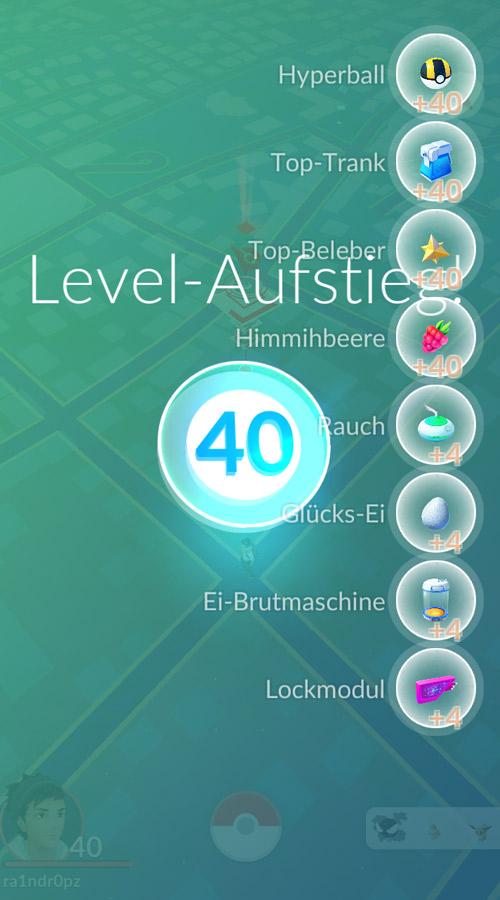 So sehen die Belohnungen für Level 40 aus