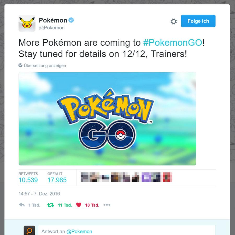 Pokémon Ankündigung Dezember 2016 Update
