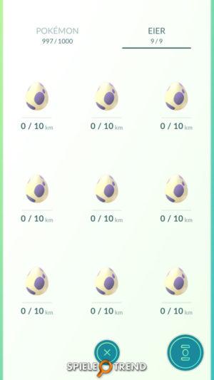 9 10 Kilometer Eier in Pokémon GO