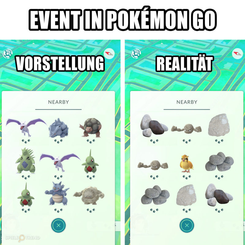 Erwartung / Realität Pokémon GO Meme