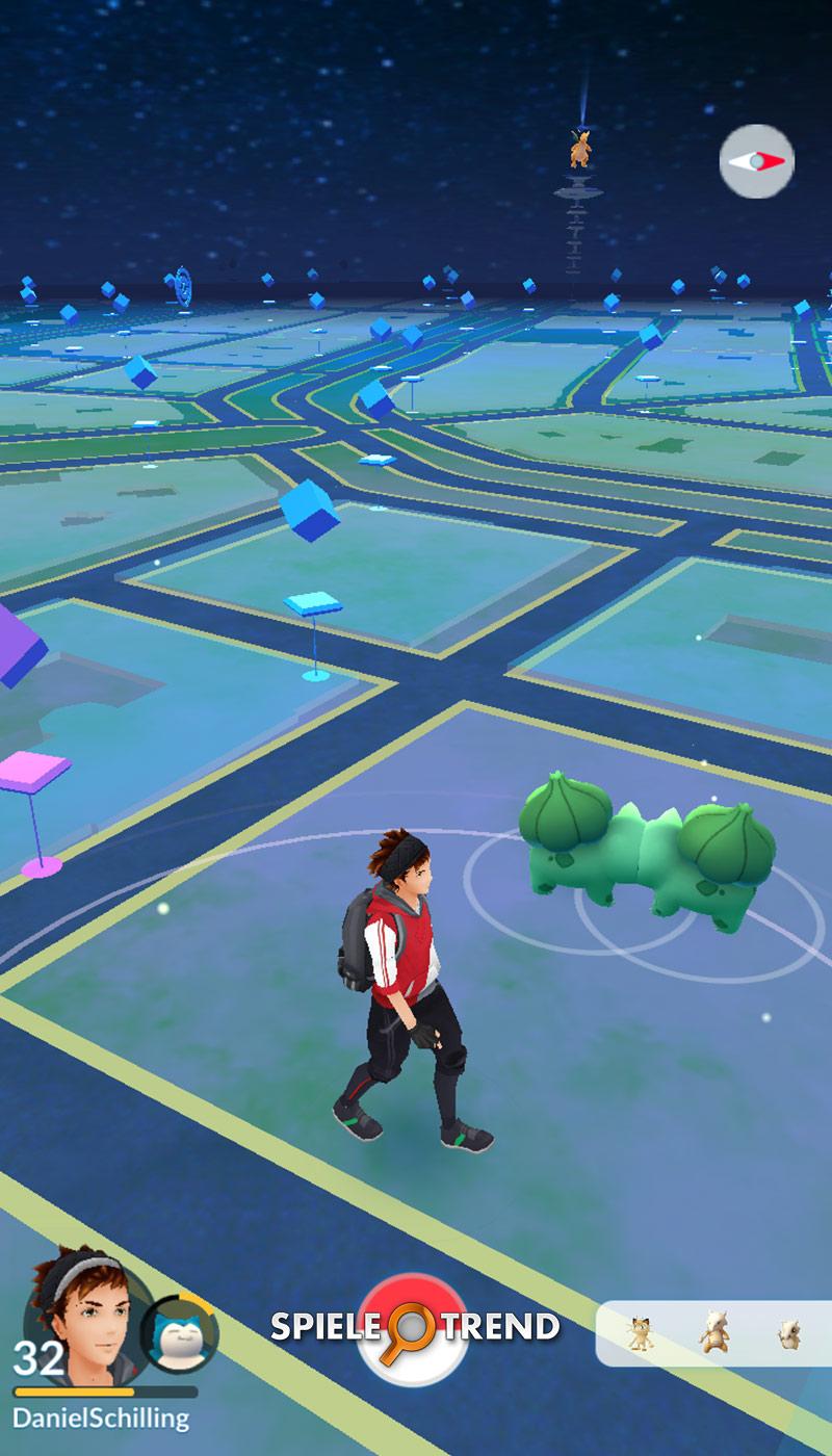 Blauer hintergrund bei pokemon go
