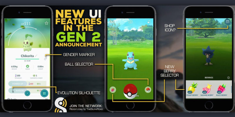 Pokémon GO neues Gen 2 Interface