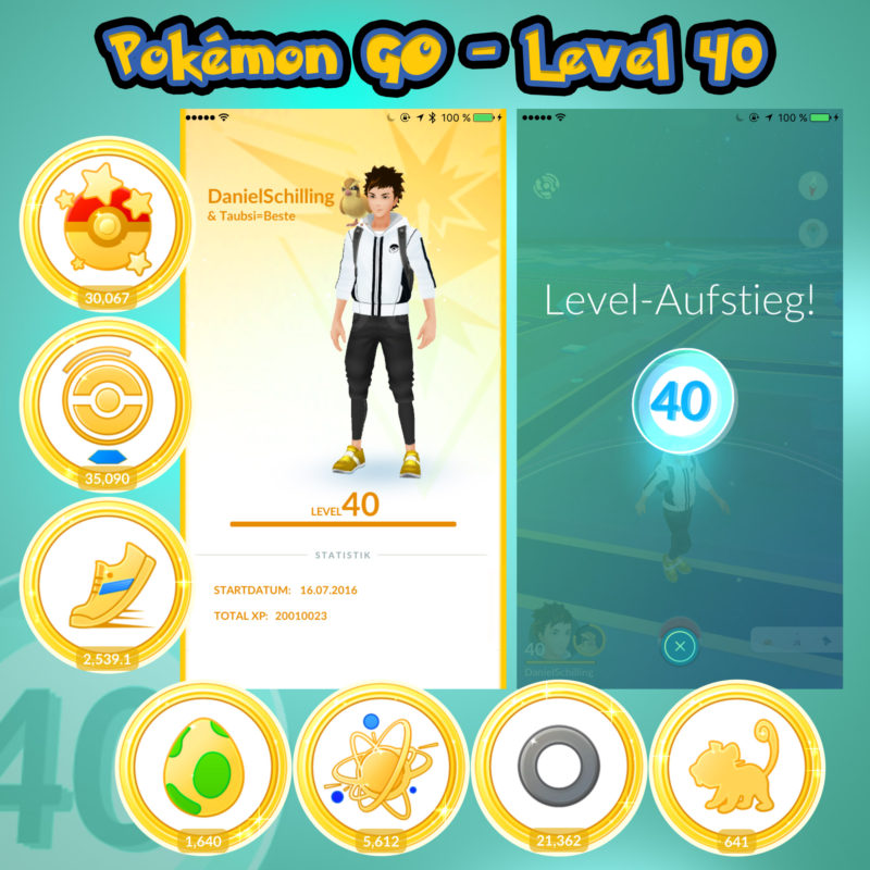 Schilling erreicht Level 40 in Pokémon GO