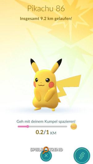 Pokémon GO mit Pikachu als Buddy