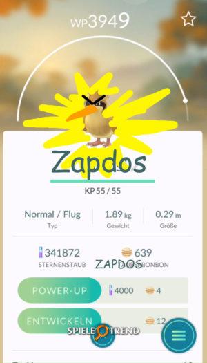 Pokémon GO Zapdos gefangen
