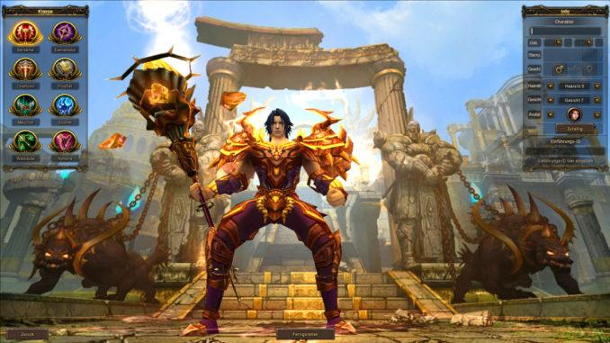War of the Immortals, Screenshot zur Charaktererstellung